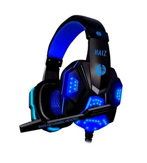 Headset Gamer Haiz Deneb Black Blue e Lu...