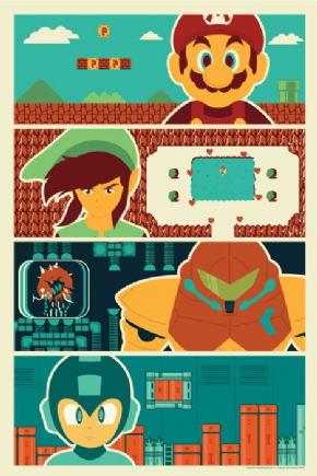 Foto Placa Decorativa Vintage Games 45x30 - Nintendo 04