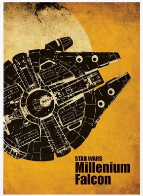 Foto Placa Decorativa Vintage Games 45x30 - Millenium Falcon