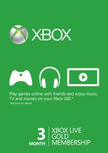 Foto Cartão Assinatura Xbox Live Gold 3 meses (USA)