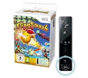 Foto Controle Remote Motion Plus Inside Preto FlingSmash - Wii U (Seminovo)