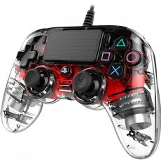 Foto Nacon Transparente Wired Vermelho Led Playstation 4